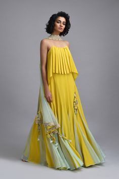 Citron yellow lehenga with net embroidered dupatta and scallop embroidered border. *This piece includes 3 - 4 inches of additional margin in the bodice/blouse to allow alterations up to - 2 dress Indian Attire, Indian Wear, Indian Dresses, Indian Outfits, Indian Designer Wear, Anarkali, Sharara, Lehenga Choli, Blouse Designs