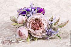 """Купить Веточка пионовидной розы """"Розовые грезы"""" - шелковая флористика, цветы из ткани, цветы из шелка"""