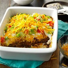 Potluck Taco Casserole Recipe -This is the dish I take most often to potlucks, and the pan comes home empty every time. It's a stick-to-your ribs casserole that has the taco taste everyone loves. —Kim Stoller, Smithville, Ohio
