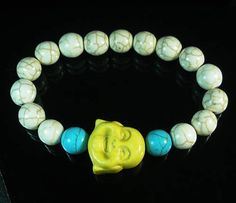 Turquoise Smile Yellow Buddha Head White Blue Ball Beads Stretch Bracelet 343