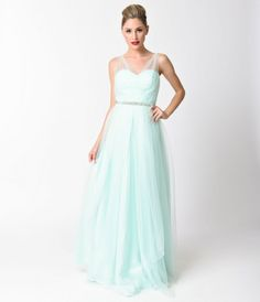Mint Sweetheart Jeweled Waist Tulle Gown   For Prom 2017