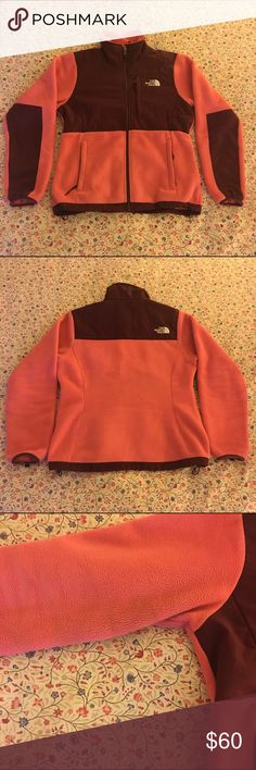 The North Face Denali Jacket Super warm and cute women's Denali sweatshirt jacket from The North Face. Size small in maroon and pink/coral but could easily fit a medium. Worn a dozen or so times. SHIPS FREE ON M. The North Face Tops Sweatshirts & Hoodies