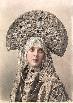 "Kokoshnik became a symbol of Russian national headdress. Kokoshnik comes from the old Russian ""Kokosh"" that meant rooster or chicken. The photo of Countess Orlova-Davydova during 1903 costume ball at Romanov Palace."