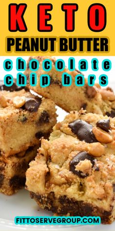 These easy, delicious Keto Peanut Butter Chocolate Chip Bars are loaded with peanut butter and chocolate goodness. They are thick and oozing with peanut butter and melty sugar-free chocolate chips make these the perfect little low carb treat. #ketopeanutbutterchocolatechipbars #ketocookiebars #lowcarbcookiebars
