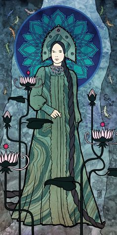 drawing in Mucha style - Mistress of Copper Mountain by Cserny Timi Pookah https://www.facebook.com/cserny.timi.pookah.artist