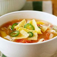 Chicken Tortilla Soup: Calories: 212,   Protein(gm): 23,Carbohydrate(gm): 17, Fat, total(gm): 5, Cholesterol(mg): 62, Saturated fat(gm): 1, monosaturated fat(gm): 2, Polyunsaturated fat(gm): 1,  Dietary Fiber, total(gm): 1,  Sugar, total(gm): 2