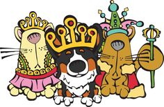 Queen's Diamond Jubilee art with Corgi and cats