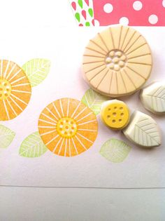 FLOWER hand carved rubber stamp. hand carved stamp. margaret flower stamp. set of 4. ready to ship.. $18,00, via Etsy.