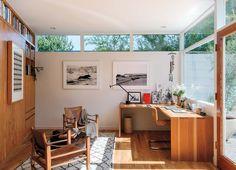 Style kitchen shelves like the ones on the left for cookbooks. Inside an LA Midcentury Mod Makeover