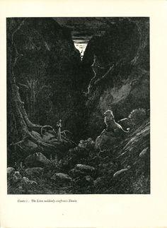 Gustave Dore Print /Bookplate 1948 Dante Lion Confronts Dante Divine Comedy #Realism