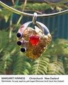 Soul Necklace for Margaret Ninness - fire opal, sapphires, gold nugget.