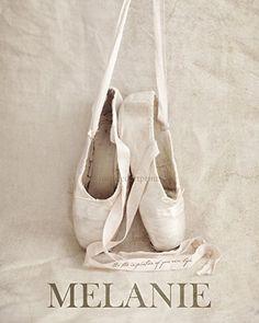 Ballet Shoes Slippers Artwork, Custom Gift for Her, Ballerina, Girls Room Personalized Decor
