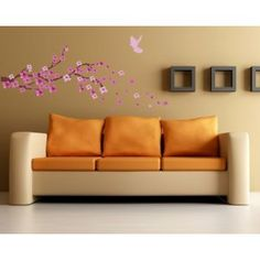 Cute Spring Cherry Blossom Branch with Dove (94pcs) stickers - Removable Decoration Wall Sticker Decal. cute wall art wall quote wall saying