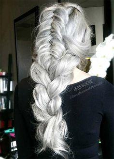Granny Silver/ Grey Hair Color Ideas: Platinum Silver Hair