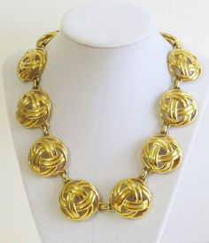Gold Tone puffy Knot Links Necklace Vintage by Antiqueandsupplies
