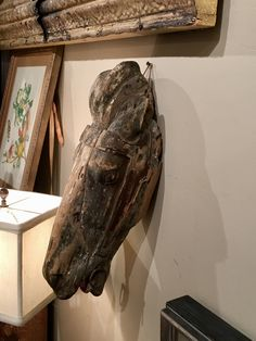 """19th Century French Carved Horsehead  18"""" High x 6"""" Wide x 9"""" Deep   $1295  Clutter Antiques 5015 Lovers Lane Dallas, TX 75209"""