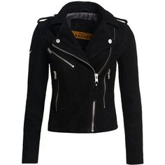 Superdry Lux Suede Biker Jacket (3 685 ZAR) ❤ liked on Polyvore featuring outerwear, jackets, coats, tops, coats & jackets, black, women, biker style jacket, zip front jacket and collar jacket