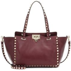 Valentino Rockstud Leather Tote ($2,035) ❤ liked on Polyvore featuring bags, handbags, tote bags, red, red leather tote bag, leather handbags, valentino handbags, leather purses and tote handbags