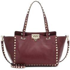 Valentino Valentino Garavani Rockstud Leather Tote (13.790 DKK) ❤ liked on Polyvore featuring bags, handbags, tote bags, red, leather tote, leather handbags, valentino tote, genuine leather tote and red tote bag
