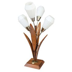 Mid Century Flower Form Wood and Brass Table Lamp