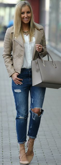 "I love ""Clean colors"" ~Carrie Beige Biker And Lace Up Flats Fall Street Style Inspo by Style and Blog"