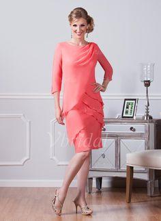 Sheath/Column Scoop Neck Knee-Length Ruffle Cascading Ruffles Chiffon Zipper Up Sleeves 3/4 Sleeves No Watermelon Spring Summer General Mother of the Bride Dress