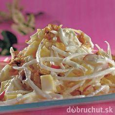 Šalát s orechmi Cabbage, Spaghetti, Vegetables, Ethnic Recipes, Food, Essen, Cabbages, Vegetable Recipes, Meals