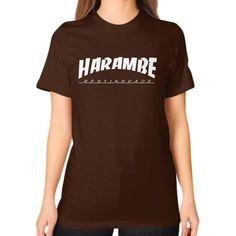 HARAMBE WHITE LOGO Unisex T-Shirt (on woman)