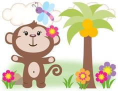 Jungle Monkey Wallpaper Border Decals for baby girl nursery or kids room decor #decampstudios
