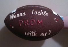 This is how my son, who plays football, is asking his friend, a cheerleader, to prom :)