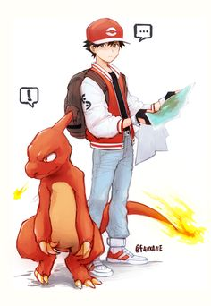 Red and Charmeleon from Pokemon Red and Green/Blue by Pokemon Go Red Team, Pokemon Trainer Red, Oc Pokemon, Pokemon Comics, Pokemon Fan Art, Cute Pokemon, Charmeleon Pokemon, Pokemon Charmander, Pokemon Images