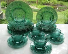 Tiara Indiana Glass Spruce Green Sandwich Plates, 9 oz Cups & Saucers, 16 pc Set #IndianaGlass