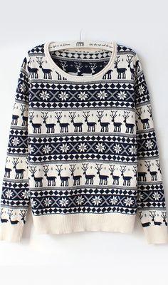 simple vintage deer snowflake sweater