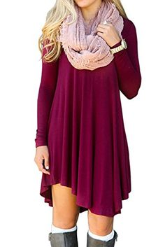 Casual Tunic Tops Loose Long Sleeve Blouses for Women Fall Winter Crew Neck Tunic T Shirt Wine Red Size XL ** Want to know more, click on the image.Note:It is affiliate link to Amazon.