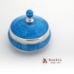 Amazing Dresser Compact Jar Sterling Silver Guilloche Enamel TK Co  from berrycom-com on Ruby Lane
