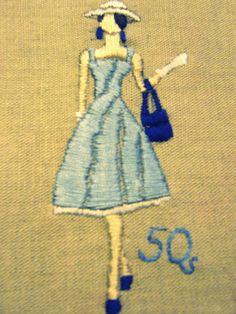 embroidery retro lady with a hat Disney Characters, Fictional Characters, Embroidery, Disney Princess, Retro, Hats, Needlework, Needlepoint, Hat