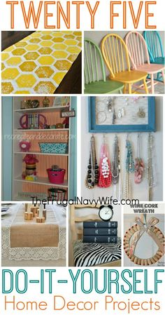 25 DIY Home Decor Projects 1. I wouldn't use chicken wire - I would use ribbon or string and would use a much longer frame so necklaces would hang in the frame 2. LOVE the bookcase idea - use chevron pattern for it.