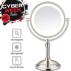 Costume Props Led Touch Screen Rotatable Bluetooth Operated Makeup Mirror 10x Magnifying Usb 2 Led Bars Music Cosmetic Table Desktop Mirror