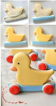 How to make a vintage pull-toy duck cookie SweetSugarBelle. Duck Cookies, Cookies For Kids, Fancy Cookies, Vintage Cookies, Easter Cookies, Heart Cookies, Valentine Cookies, Birthday Cookies, Christmas Cookies