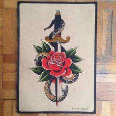 #dagger #pugnale #rose #rosa #snake #serpente #traditional #tattoo #flash #simonemariotti