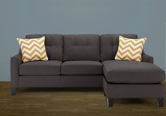 Dark couch with chaise Soo cute! Living Room Sofa, Home Living Room, Living Spaces, Apartment Furniture, Bedroom Furniture, Furniture Ideas, Couches For Sale, Comfy Couches, Dark Couch