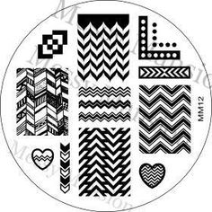 MESSY MANSION MM12 Nail Art Stamping Plate - Chevron Themed -- This is an Amazon Affiliate link. More info could be found at the image url.