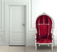 Sessel Barock - Mahagoni - rot - Polyesterbezug