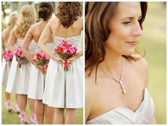 Love the pic of the bouquets behind the dresses
