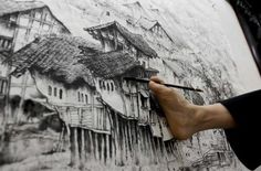 In this photo, an artist with no hands uses his right foot to create beautiful art. The link demonstrates some of his art work and his techniques.