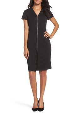 New Ellen Tracy Zip Front Sheath Dress (Regular Petite), Black White fashion dress online. [$78.9]>>wooclo Shop fashion 2017 <<