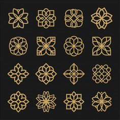 Set of outline logo ornament. Islamic Art Pattern, Pattern Art, Pattern Design, Arabic Pattern, Geometric Drawing, Geometric Logo, Geometric Designs, Geometric Shapes, Stencil Designs