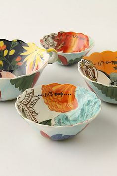 Painted Amaryllis Measuring Cups #anthropologie