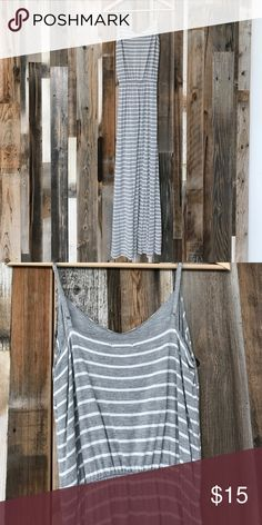 """Striped maxi dress from The Gap Grey and white maxi dress. Made from 100% viscose. I'm 5'7"""" and it falls at my ankles. Sinched with elastic at the waist. Adjustable straps. Worn 3x. GAP Dresses Maxi"""