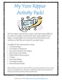 Yom Kippur Activity Pack http://jewishhomeschool.blogspot.com/p/printables-and-activity-packs.html